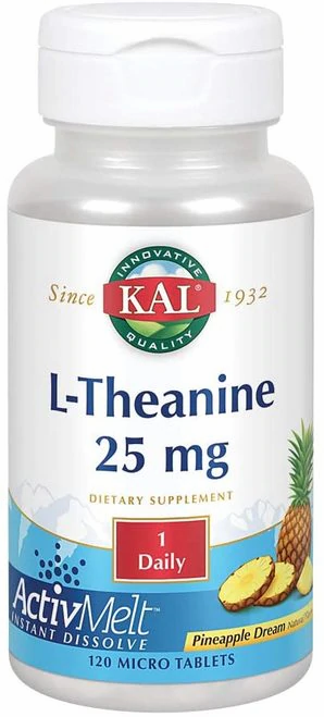 KAL L-Theanine 25 mg Pineapple 1 Daily  120 micro tabs