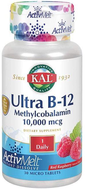 KAL Ultra B-12 Methylcobalamin 10,000 mcg Raspberry 1 Daily  30 micro tabs