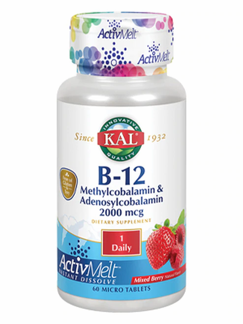 KAL B-12 Methylcobalamin & Adenosylcobalamin 2,000 mcg Raspberry 1 Daily  60 mic