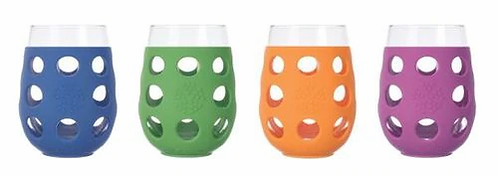Lifefactory Beverage Glasses Mixed Color Set  4 10 oz glasses