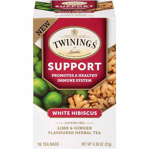 Twining's Tea Support White Hibiscus Lime  Ginger  18 bags