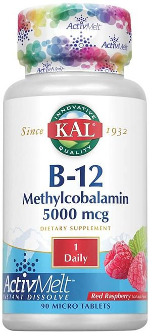 KAL B-12 Methylcobalamin 5,000 mcg Raspberry 1 Daily  90 micro tabs