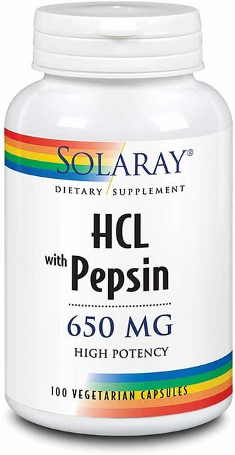 Solaray HCL with Pepsin 650 mg  100 caps