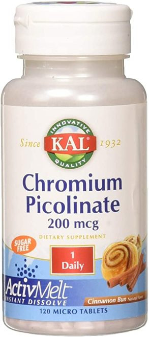 KAL Chromium Picolinate 200 mcg Sugar Free Cinnamon 1 Daily  120 micro tabs