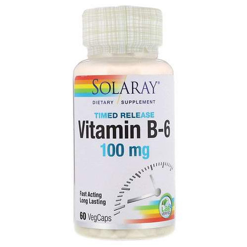 Solaray Vitamin B-6 Timed Release 100 mg 60 caps