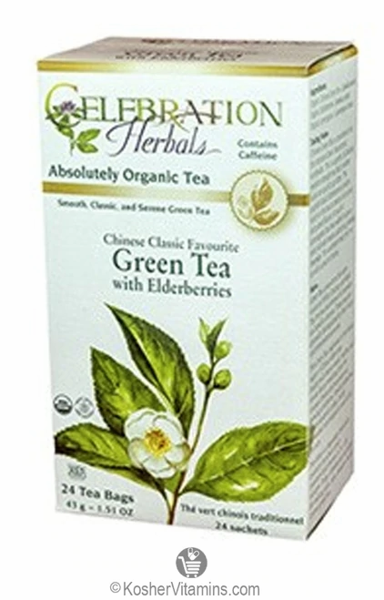 Celebration Organic Herbal Tea Green Tea with Elderberries  24 bags