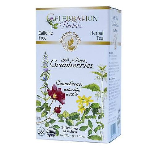 Celebration Organic Herbal Tea 100% Pure Cranberries  24 bags