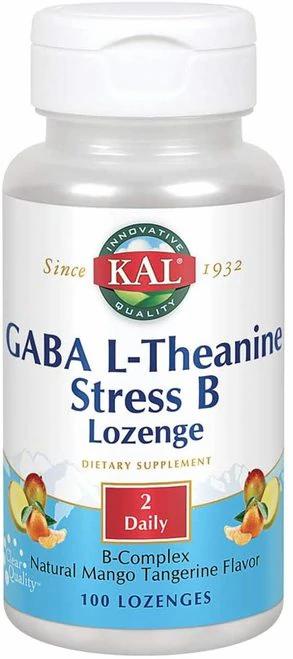 KAL GABA L-Theanine Stress B Mango Tangerine 2 Daily  100 lozenges