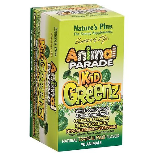 NaturesPlus Animal Parade  Kid's Greenz Tropical Fruit  90 tabs