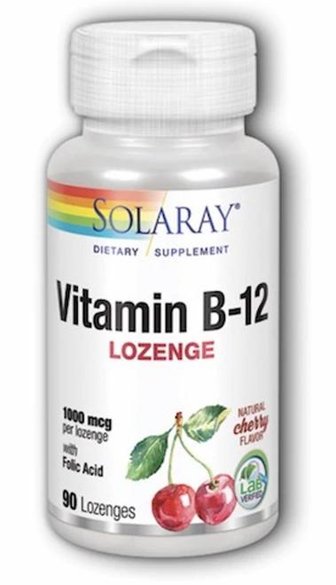 Solaray Vitamin B-12 Lozenge Cherry 2000 mcg 90 lozenges