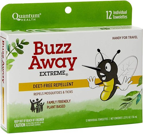 Quantum Health Buzz Away Deet Free  12 towelettes