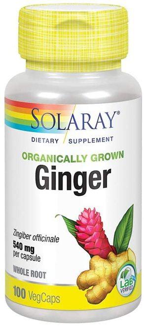 Solaray Ginger Organic NON-GMO 540 mg  100 caps