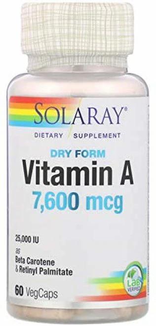 Solaray Vitamin A Dry Form  7,600 mcg  60 caps