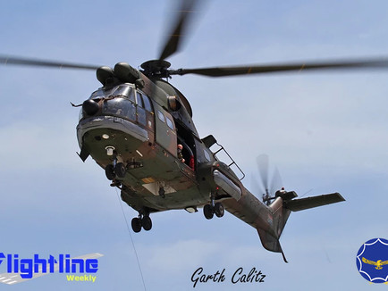 22 Sqaudron Oryx involved in a rescue mission off the Cape coast