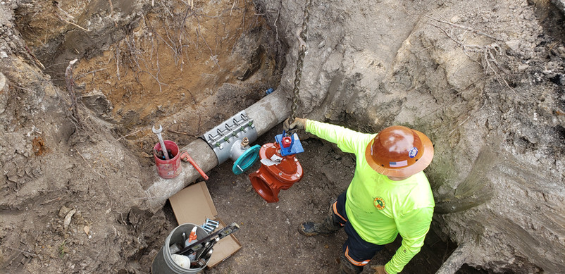 """Lowering 6"""" Gate Valve Into Place"""