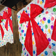 bows are shaped, saturated with fabric stiffener, and ready to dry