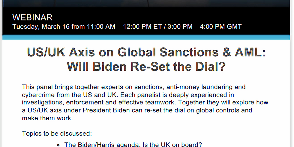 US/UK Axis on Global Sanctions & AML: Will Biden Re-Set the Dial?