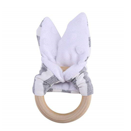Organic Wood & Cotton Bunny Ear Teether