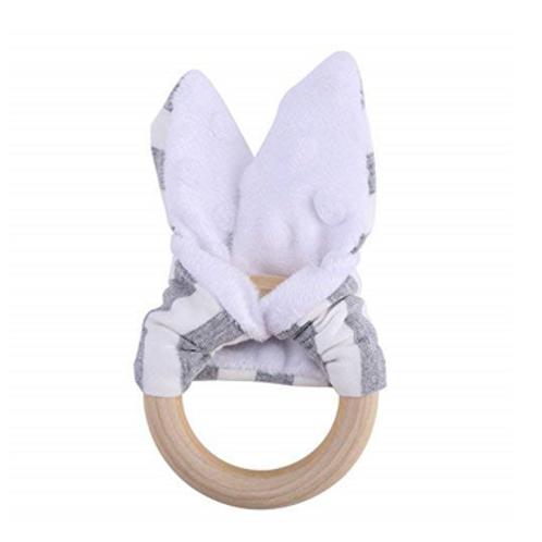 Organic Wood & Cotton Bunny Ear Teether