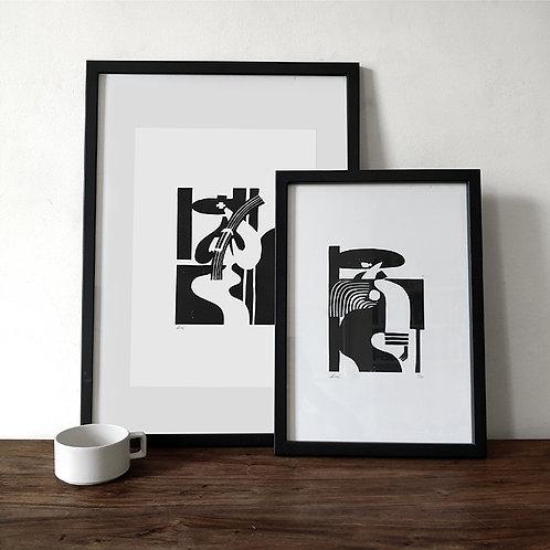 Limited Edition Lino Prints - Jinete & Granjera Pair