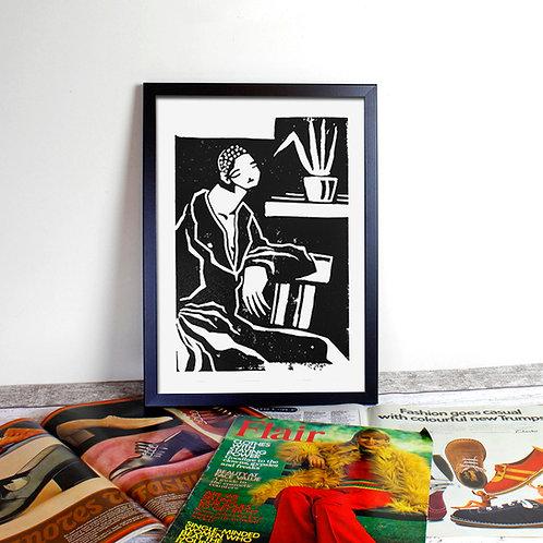 A3 Lino Print - Parlour Palm