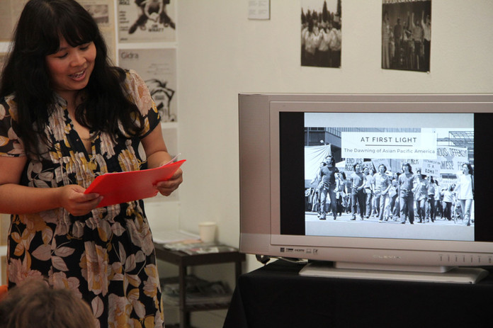 Yuri Shimoda presenting a curator's talk