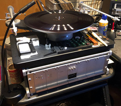 Turntable playing a lacquer disc