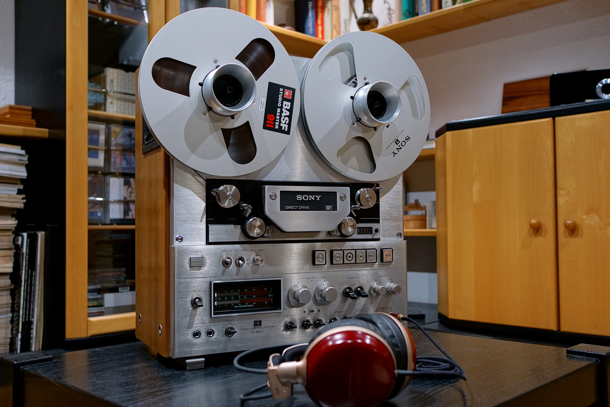 A reel-to-reel tape machine