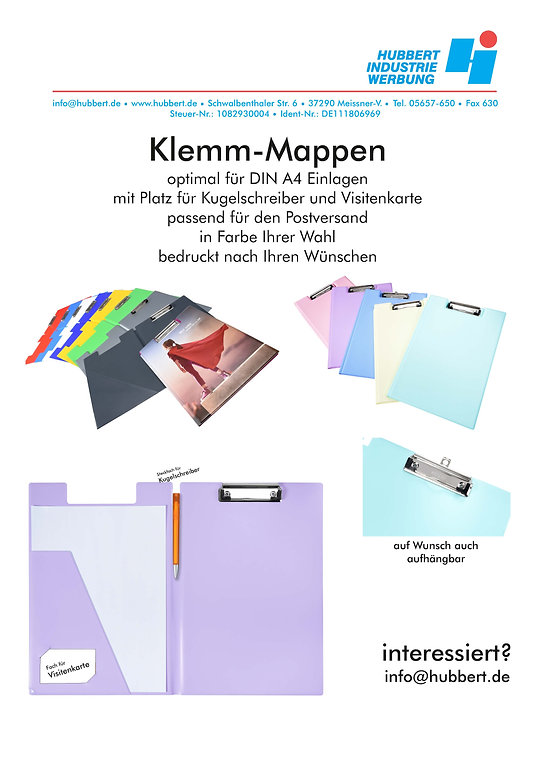 Klemm-Mappen Werbeartikel