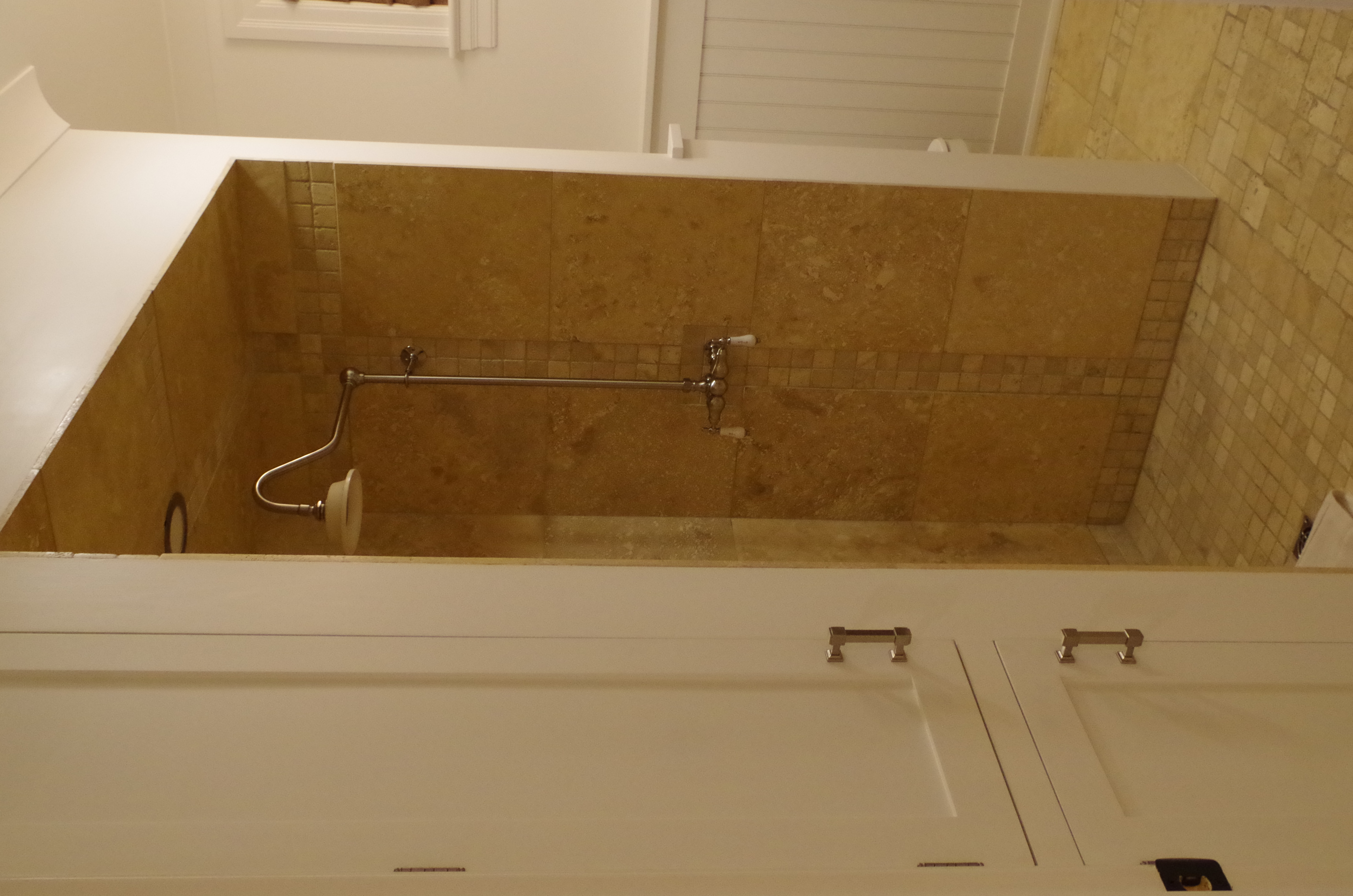 custom shower ,no doors
