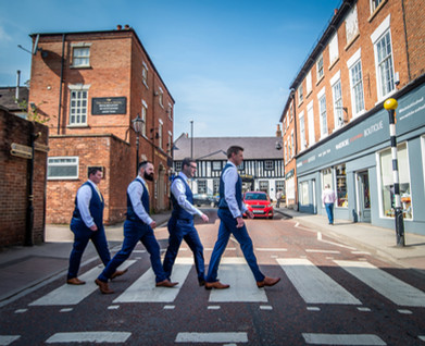 Michael and his groomsmen doing the Abbey Road walk