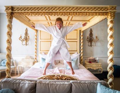 Kirstin leaping for joy
