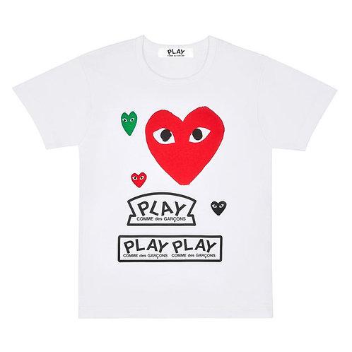 PLAY Comme des Garçons Logo T-Shirt with Red Heart