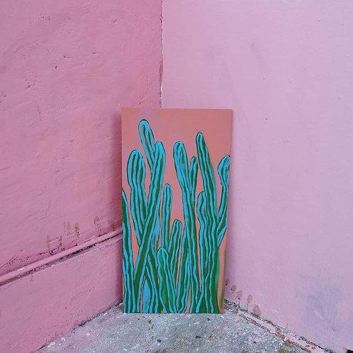 Un Pequeño Cactus en la calle Casa Garcia Oil and Arcylic on Canvas 100cm x 58cm
