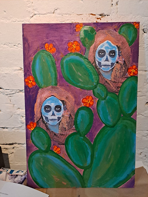 """""""JUST A TWO OF US"""" 100 x 68 Mixed media art with acrylic and neon colors"""