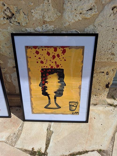 """""""EL VINO ES VIDA"""" Acrylic and Oil on board paper A3"""