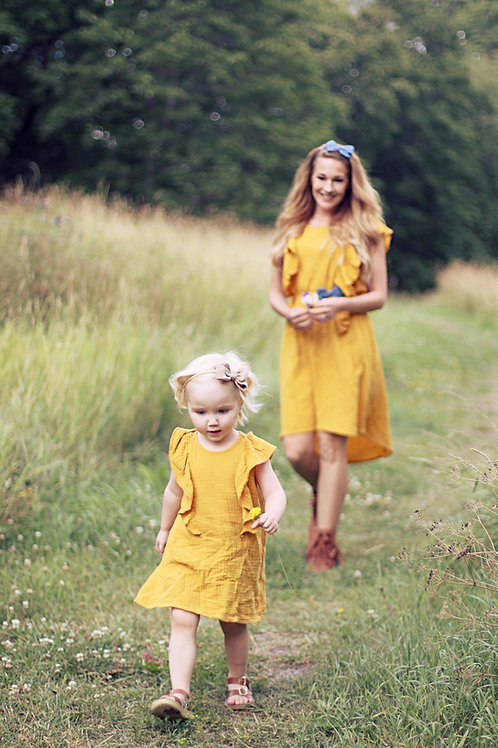 Mama Bird Breastfeeding Dress Curry Yellow