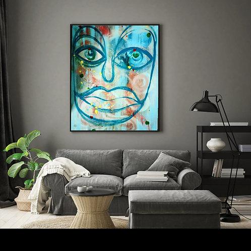 Moody Man - Acrylic and Oil on Canvas 100 x 140 cm