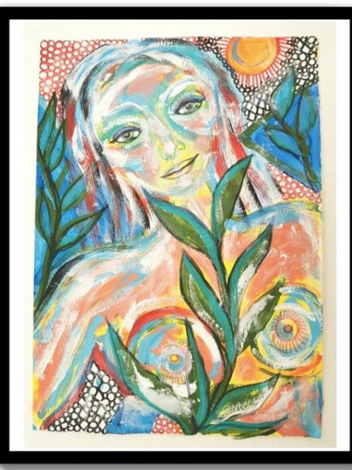 """""""SUNSHINE INSIDE OF ME"""" Acrylic on a board paper 100 x 68"""