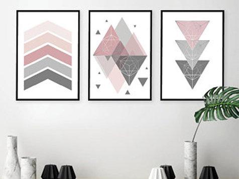 Trio cinza e rosa