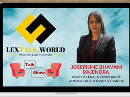 LexTalk World Talk Show with Josephine Bhavani Rajendra, Head of Legal & Compliance, Ambani Consult