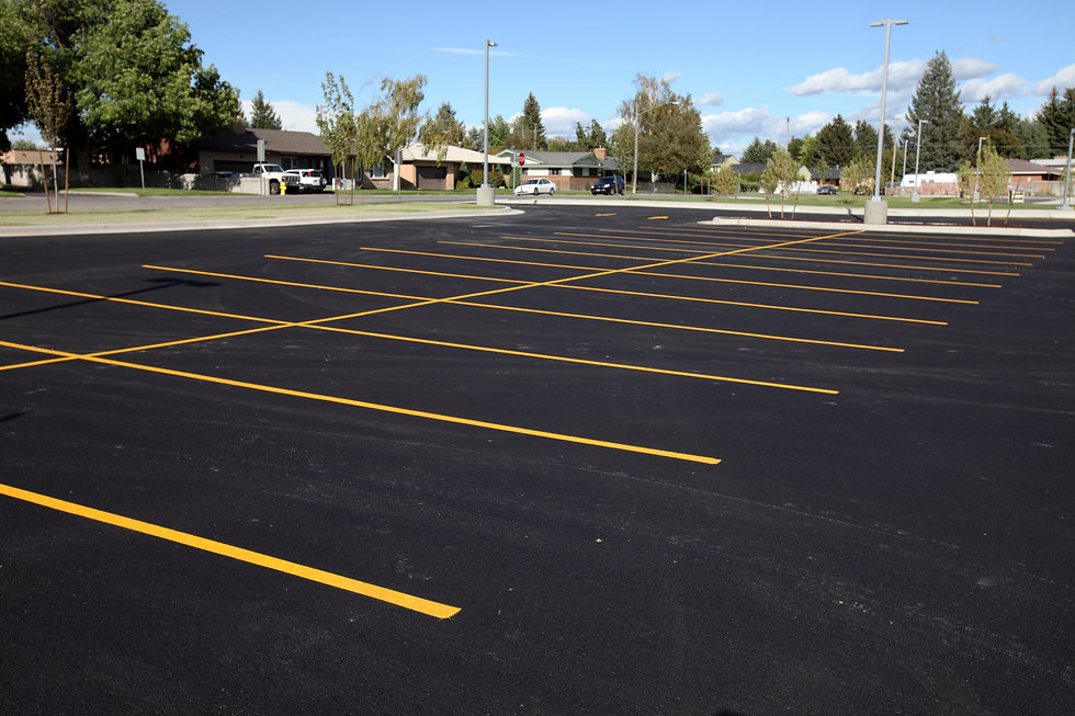 A newly completed parking lot with fresh