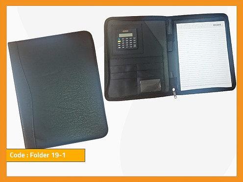 FOLDER 19-1 -- Leather Folder with Calculator