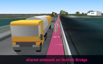 Allow cycling along the pavement on western side of Norfolk Bridge