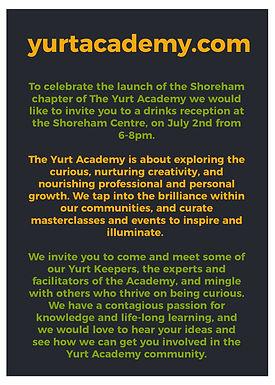 Shoreham launch of Yurt Academy, an interesting new take on adult education