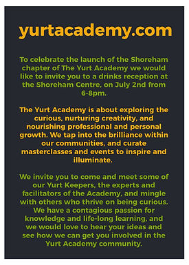 Shoreham launch of Yurt Academy, an interesting new take on adult education