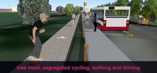 Segregated walking cycling and driving along the A259
