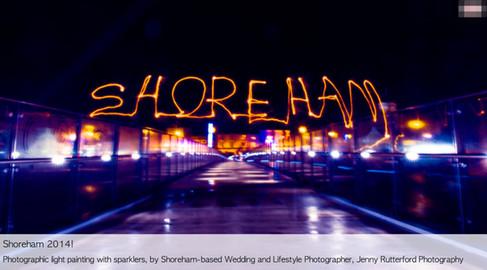 Adur Ferry Bridge at night - sparkler writing