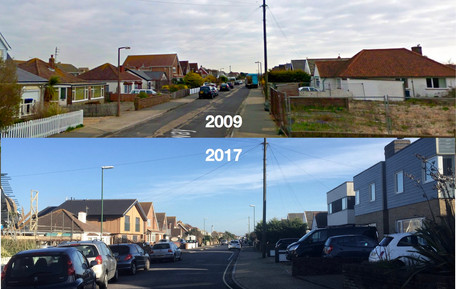 2009: Low level buildings and big sky vs 2017: more dense, higher quality housing