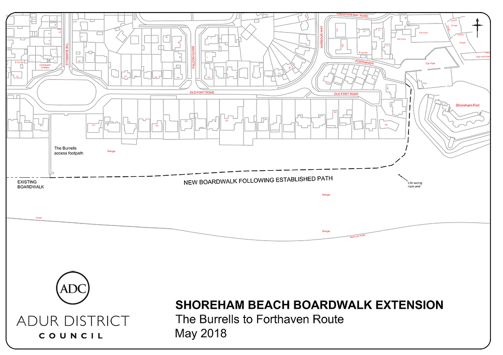 boardwalk to Shoreham Fort plan